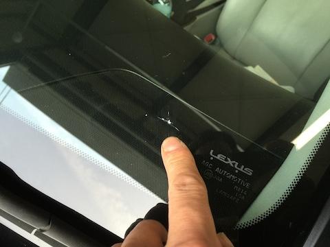 レクサス フロントガラス 飛び石 修理