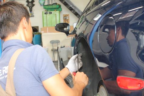 RX-7 ヘコミ 修理 デントリペア リアクォーター