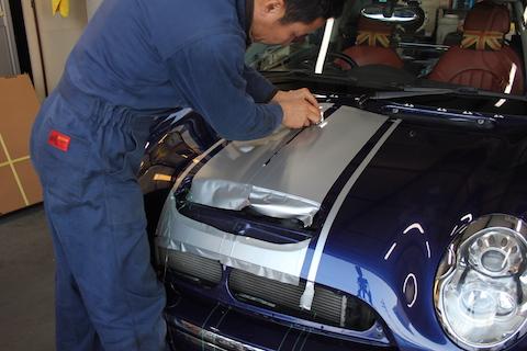 BMW ミニ レーシングストライプ カーラッピング