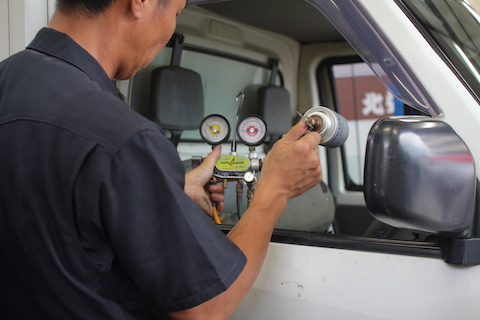 ミニキャブ 冷蔵冷凍車 ガス漏れ 修理