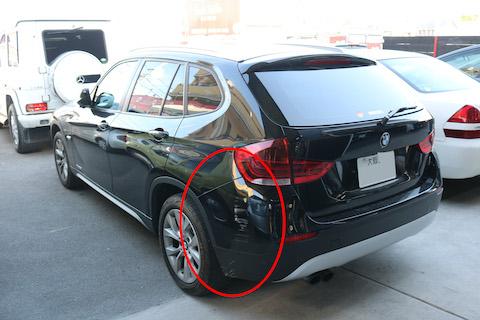 輸入車のリアバンパーも鈑金・塗装で再生修理し、通常より費用を1/3以下!